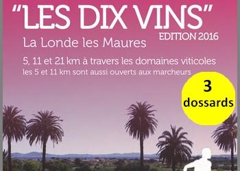 Photo of 3 dossards pour Les Dix Vins 2016, course nature (Var)