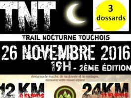 3 dossards pour le Trail Nocturne Touchois 2016 (Loire Atlantique)