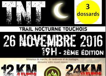 Photo of 3 dossards pour le Trail Nocturne Touchois 2016 (Loire Atlantique)