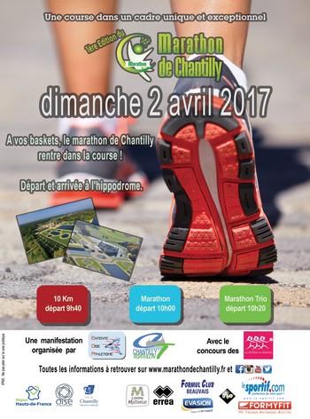 2 dossards pour les 10 km et marathon de Chantilly 2017