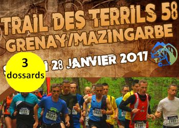 Photo of 3 dossards pour le Trail des Terrils de Grenay 2017 (Pas de Calais)