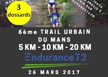 Photo of 3 dossards pour le Trail urbain du Mans 2017
