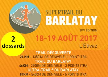 Photo of 2 dossards pour le SuperTrail du Barlatay 2017 (Suisse)