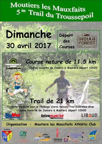 2 dossards Trail du Troussepoil 2017 (Vendée)