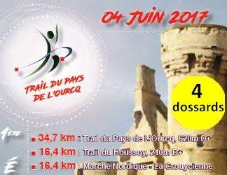 4 dossards Trail du Pays de l'Ourcq 2017 (Seine et Marne)
