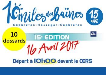Photo of 10 dossards pour les 10 Miles des Baïnes 2017, Capbreton (Landes)
