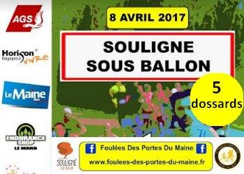 Photo of 5 dossards pour le 5 km des Foulées des portes du Maine 2017 (Sarthe)