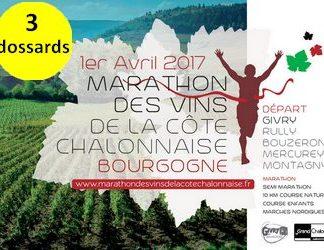 3 dossards Marathon des Vins de la Côte Chalonnaise 2017 (Saône et Loire)