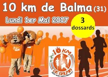 Photo of 3 dossards pour les 10 km de Balma 2017 (Haute-Garonne)