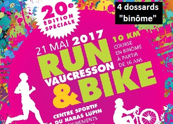 Photo of 4 dossards binôme Run & Bike Vaucresson 2017 (Hauts-de-Seine)
