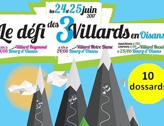 10 dossards Défi des 3 Villards en Oisans 2017 (Isère)