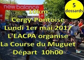 Photo of 5 dossards pour la course du muguet 2017, 10 km à Pontoise (Val d'Oise)