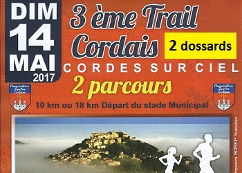 Photo of 2 dossards Trail Cordais 2017 (Tarn)