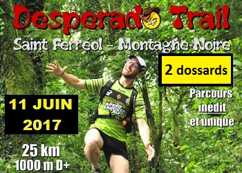 Photo of 2 dossards pour le Desperado Trail 2017 (Tarn)