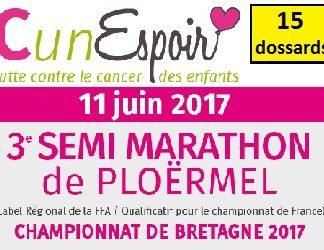15 dossards Semi-marathon de Ploërmel 2017 (Morbihan)