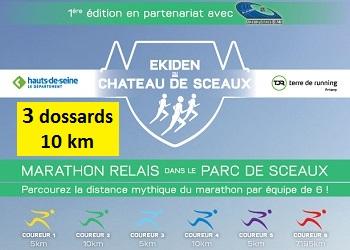 Photo de 3 dossards pour le 10 km de l'Ekiden de Sceaux 2017 (Hauts-de-Seine)