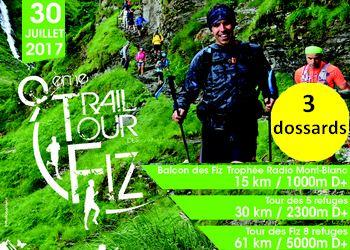 3 dossards Trail du Tour des Fiz 2017 (Haute Savoie)
