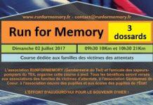 3 dossards pour la Run Memory 2017 (Ardèche)