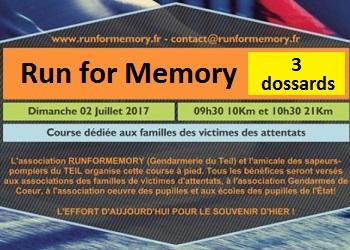 Photo of 3 dossards pour la Run Memory 2017 (Ardèche)