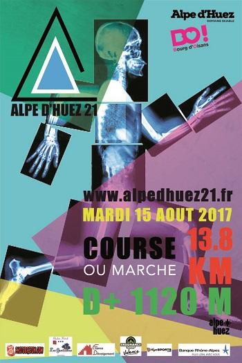 4 dossards Alpe d'Huez 21 - 2017 (Isère)