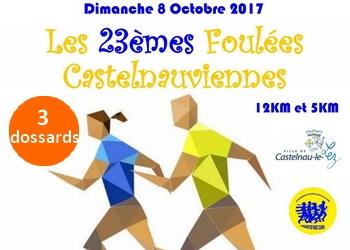 3 dossards Foulées castelnauviennes 2017 (Hérault)