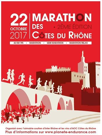 3 dossards Marathon des Côtes du Rhône 2017 (Vaucluse)