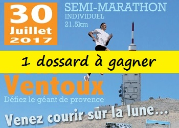 1 dossard Semi-marathon du Ventoux 2017, (Bedoin, Vaucluse)