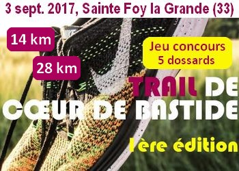 Photo of 5 dossards Trail de Cœur de Bastide 2017 (Gironde, 1ère édition)