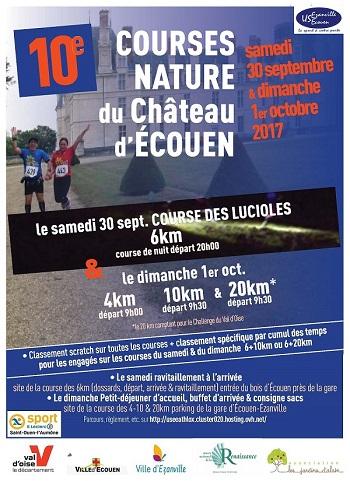 2 dossards Courses nature du Château d'Ecouen 2017 (Val d'Oise)