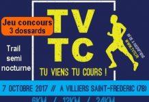 3 dossards Tu Viens Tu Cours 2017 (Trail semi-nocturne, Yvelines)