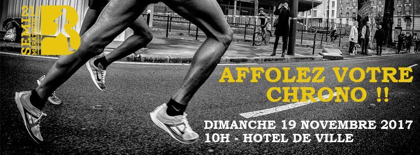 1 dossard Semi-marathon de Boulogne Billancourt 2017 (Hauts de Seine)