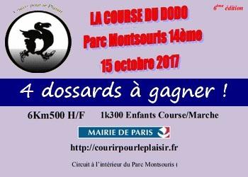 4 dossards Course du Dodo 2017, Paris