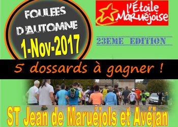 Photo of 5 dossards Foulées d'automne de l'Etoile Maruéjoise 2017 (10 km, Gard)