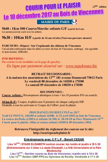 6 dossards 10 km Courir pour le plaisir 2017, Paris
