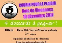 4 dossards 10 km Courir pour le plaisir 2017, Paris