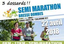 3 dossards Semi-marathon Bresse Dombes 2018