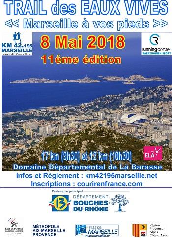 4 dossards Trail des Eaux Vives 2018, Marseille