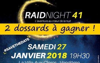 2 dossards Raidnight 41, La Ville aux Clercs (janv. 2018, Loir et Cher)