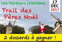 2 dossards Trail des Pères Noël 2017, Les Herbiers (Vendée)