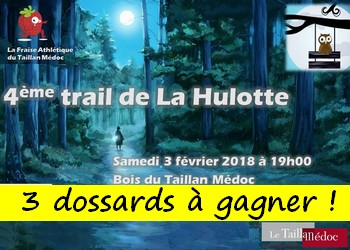 Photo of 3 dossards Trail de la Hulotte 2018 (Gironde)