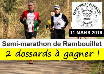 2 dossards Semi-marathon de Rambouillet 2018 (Yvelines)