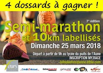 4 dossards Semi-marathon de Feurs en Forez 2018 (Loire)