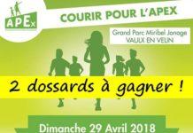 2 dossards Courir Pour l'Apex 2018, Vaulx-en-Velin (Rhône)