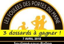 3 dossards Foulées des Portes du Maine 2018 (Sarthe)