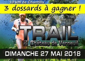 3 dossards Trail 30 km du Château de Verneuil 2018 (Oise)