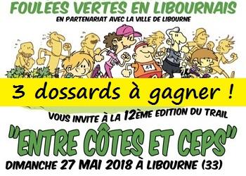 3 dossards Entre Côtes et Ceps 2018, Libourne (Gironde)
