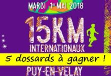 5 dossards 15 km du Puy-en-Velay 208 (Haute Loire)