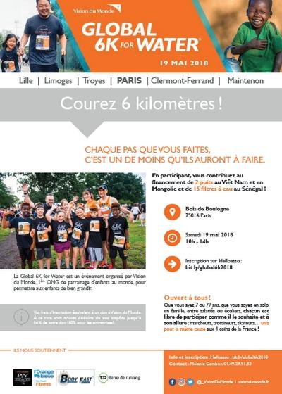 2 dossards Global 6K for water Paris 2018 (Bois de Boulogne)