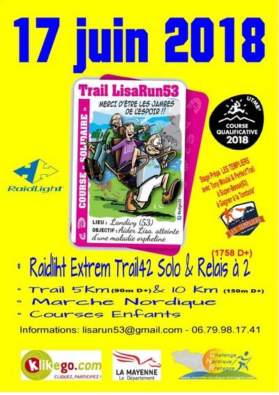 4 dossards Trail LisaRun53 - 2018 (Mayenne)