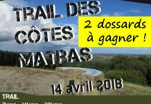 2 dossards Trail des Côtes Matras 2018 (Allier)